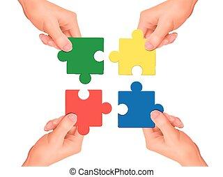 cooperación, pedazos jigsaw, manos de valor en cartera,...