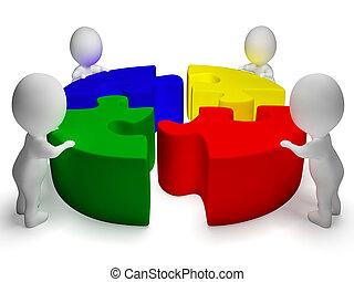 cooperación, rompecabezas, solucionado, unidad, caracteres,...