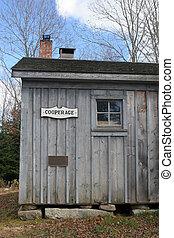 Cooperage at a museum in Nova Scotia, Canada