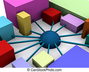 cooperation - an abstract image showing an organization with...