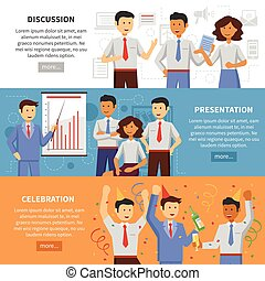 Business cooperation horizontal banner set with discussion presentation and office celebration flat elements isolated vector illustration