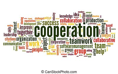 Cooperation and teamwork concept in word tag cloud on white