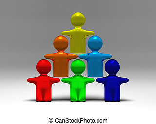 cooperation shown by some symbolic people standing on each...