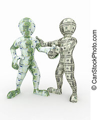 Cooperation euro and dollar. Conceptual image