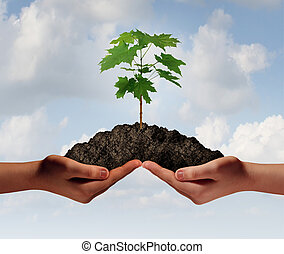 Cooperation growth business symbol as two hands holding up a heap of earth with a tree sapling growng.