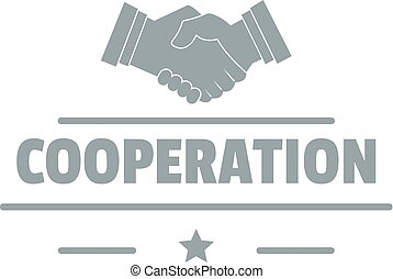 Cooperation logo, simple gray style