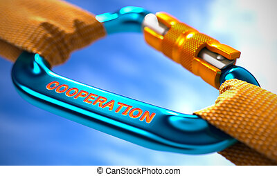 Cooperation on Blue Carabiner between Orange Ropes.