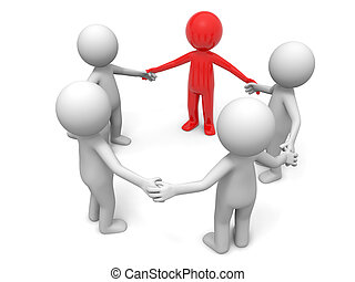 Cooperation, partner, team - Five people stand together hand...
