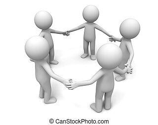 Five people stand together hand in hand
