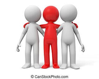 Cooperation, partner, team - Three men stood together