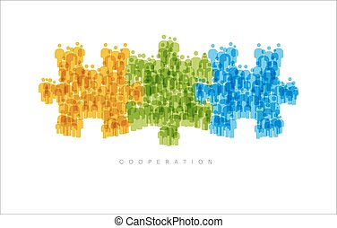 Cooperation Teamwork concept made from people icons -...