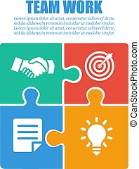 Cooperation, teamwork. Successful solution puzzle. Symbol of partnership. Vector, flat design