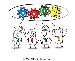 This teamwork is very productive. Each of the businessmen have an idea for resolve the problem. each colored gear represents the idea of each businessman (similar color)