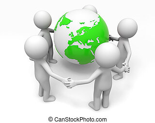 Cooperation,partner,earth - Five people stand together hand...