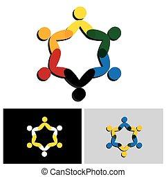 cooperazione, lavoro squadra, icon., amicizia, cerchio, vettore, concetto