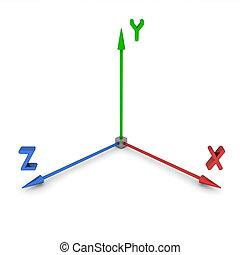 coordenada, xyz, 3d, sistema, espacio