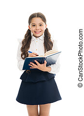 Coordinating process. Focused on education. KId girl student likes to study. Study in secondary school. Private lesson. Adorable child schoolgirl. Formal education concept. School education basics
