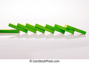 Coorful domino blocks on white background