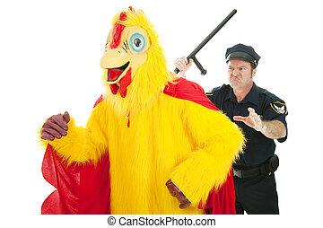 Cop Chasing Chicken Man