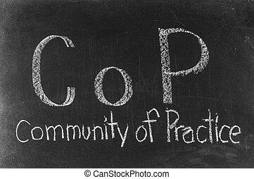 COP concept written on blackboard background high resolution
