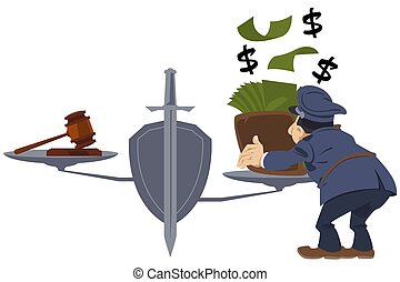 Cop gives money to justice. Violation of law. Corrupted justitia. Funny people. Stock illustration.