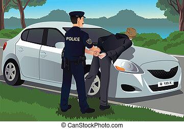 Cop handcuffs a law-breaker - A vector illustration of cop...
