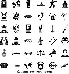 Cop icons set, simple style - Cop icons set. Simple set of...