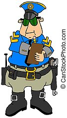 Cop writing a ticket - This illustration depicts a police...