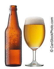 copa de cerveza, con, botella