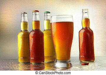 copa de cerveza, con, botellas