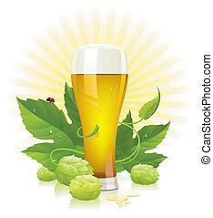 copa de cerveza, salto, y, hojas
