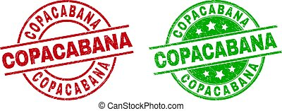 Round COPACABANA seal stamps. Flat vector distress seals with COPACABANA message inside circle and lines, in red and green colors. Watermarks with distress surface.