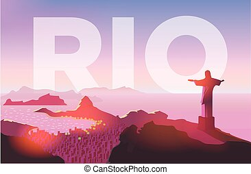 copacabana, tengerpart., city., szobor, janeiro, felett,...