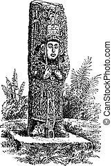 Copan Monolith in Honduras, vintage engraving