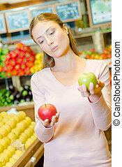 coparing, flicka, äpplen