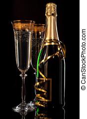 copas de champán, con, botellas