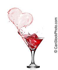 copas de vino tinto, resumen, corazón, salpicadura