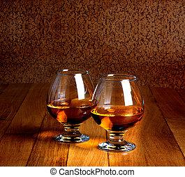 copas, viejo, de madera, aguardiente, dos, cima contraria