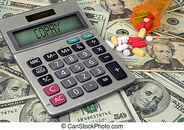 copay, calculadora, pílulas, texto