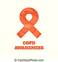 COPD awareness papercut ribbon