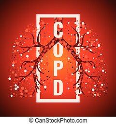 copd, cartel, marco, pulmones, día
