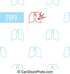 COPD lung disease poster made in linear style on white background. Chronic obstructive pulmonary disease symbol. Medical template for clinics and centers. Vector illustration.