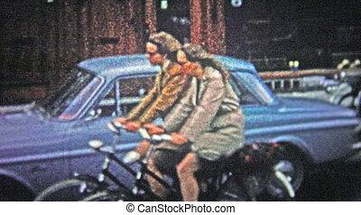 COPENHAGEN - 1966: Women riding bik - Unique vintage 8mm...