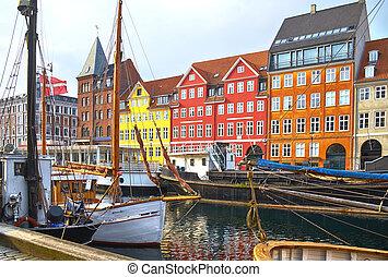 copenhagen., bateaux, nyhavn, bateaux