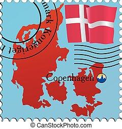 Copenhagen - capital of Denmark. Stamp