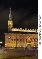 Copenhagen City Hall in evening