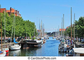 Copenhagen, Denmark. Beautiful canal in Christianshavn in a sunny summer day