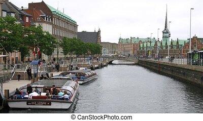 Excursion motorboats at Holmen - COPENHAGEN, DENMARK - JUL...