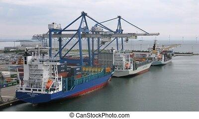 Freight ships at terminal - COPENHAGEN, DENMARK - JULY 12:...