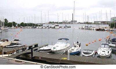 Yachts and motorboats at Langelinie Pier - COPENHAGEN,...